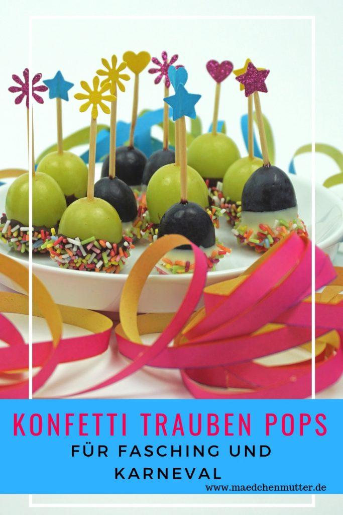 Konfetti Trauben Pops fuer Fasching Karneval Snack Buffet Kinder Party Kindergarten Schule gesund Fingerfood schnell einfach