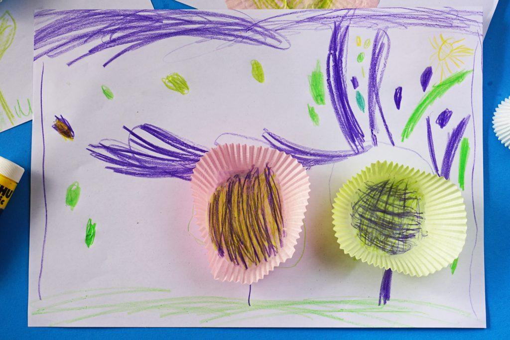 Muffinblume Bild basteln