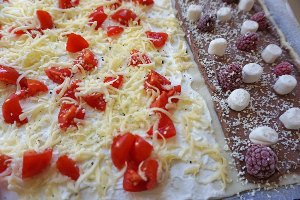 KinderFlammkuchen-Flammkuchen-Kinder-Dessert-schnell Mittagessen Nuss Nougat Schokolade